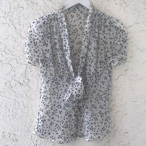 L.A.M.B. Semi-Sheer Star Print Tie Neck Blouse XS